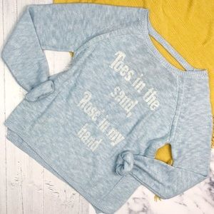 brokedown Sweaters - BROKEDOWN Baby Blue Cut Out Back Rosé Sweater